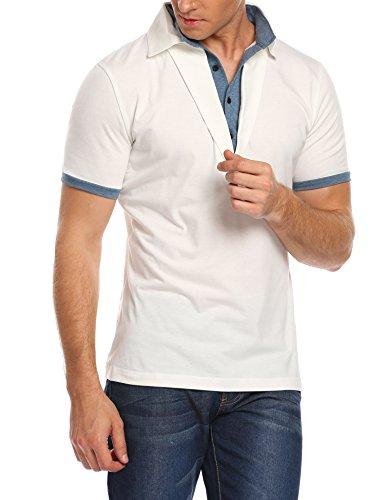 Burlady Herren Poloshirts Polohemd Slim Fit Kurzarm Sommer Freizeit Sport 2 in 1 Shirt T-Shirt Weiß