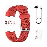 Cinturino universale per orologioTianranRT Per cinturino Fitbit Charge3 + adesivo per protezione schermo + caricatore 3 in 1,Nuova moda,Rosso(17CM*10CM*3CM)