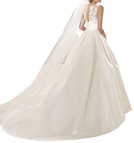 ivyd ressing Femme Satin & dentelle col rond ligne Duchesse mariage vêtements vêtements Ecru - Ecru