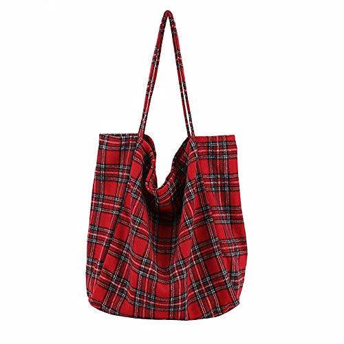 WKldxh Bolso de mujer Bolso de mano Bolsa de asas Bolsa de compras Bolsa de tela escocesa Bolsa grande Paquete de gran capacidad Lona a rayas Bolso bandolera grande para mujer, rojo