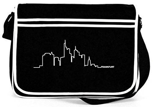 Shirtstreet24, Skyline Frankfurt, Retro Messenger Bag Kuriertasche Umhängetasche Schwarz