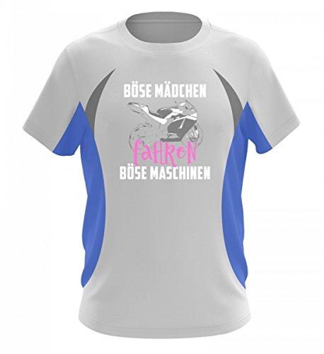 Motorrad Shirt · Biker · Geschenk für Superbike Fahrer · Spruch: Böse Mädchen Maschinen - Herren Laufshirt tailliert geschnitten -3XL-Blau-Weiss