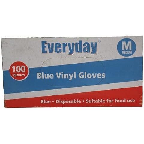 Diario Medium Azul Guantes de vinilo con polvo–pack de 100