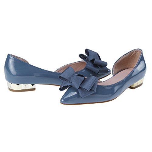 Damara Damen Lackleder Glitzer Ballerinas mit Zierschleife Blau