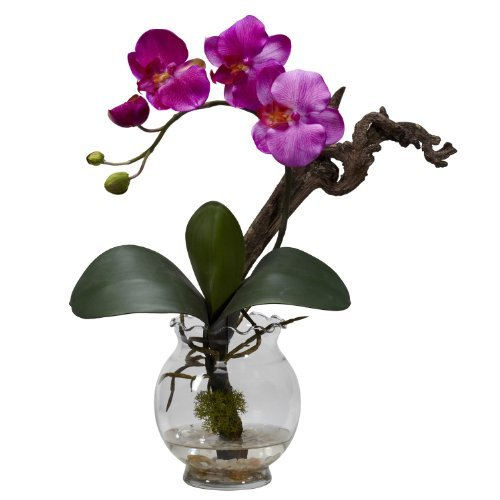 Vase Fluted (Nearly Natural 1277-PP Mini Phalaenopsis with Fluted Vase Silk Flower Arrangement, Purple by Nearly Natural)