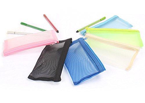 fabl Crew Boîte de papeterie crayon sac trousse d'apprentissage Appareils Trousse transparente 4couleurs net fil matériaux aléatoire 18cm * 9cm Lot de 4 Fablcrew