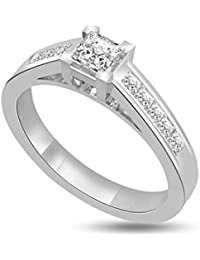 0.50ct F/VS1 Bague de fiançailles solitaire en diamant pour femme coupe Princesse diamants en 18ct or blanc