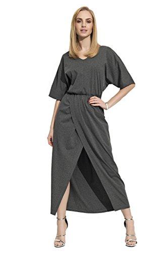 Damen Kleid Locker Oversized Freizeitkleid Maxikleid mit Schlitz V-Ausschnitt Gr. S M L XL 36 38 40 42, F11 Grafit