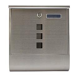 1PLUS Edelstahl Briefkasten Postkasten Wandbriefkasten mit Zeitungsrolle/Zeitungsfach mit schützender Lackierung (mit Namensschild - Edelstahl)