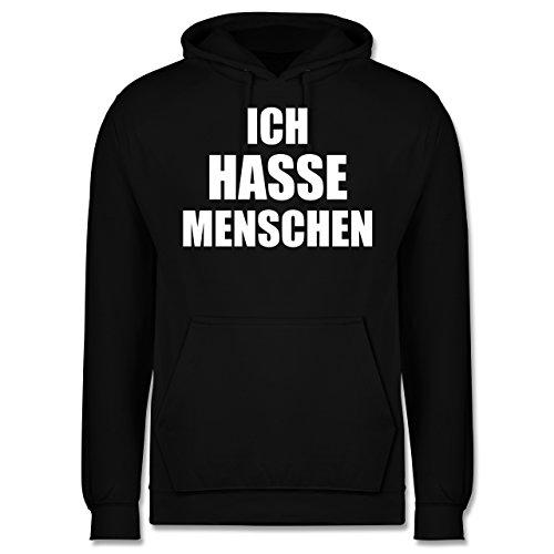 Statement Shirts - Ich hasse Menschen - XL - Schwarz - JH001 - Herren Hoodie