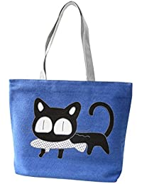 Hrph Pez gato especial de dibujos animados muy buen gusto del bolso de la lona del bolso de escuela