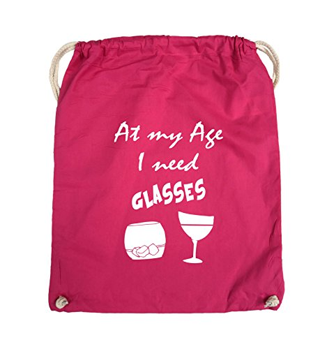 Comedy Bags - At my Age I need GLASSES - Turnbeutel - 37x46cm - Farbe: Schwarz / Silber Pink / Weiss