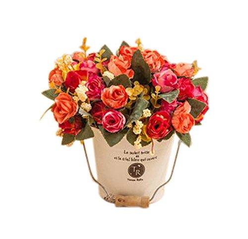 Mode Simulationsanlage künstliche Orange Rose dekorativen Topfpflanzen