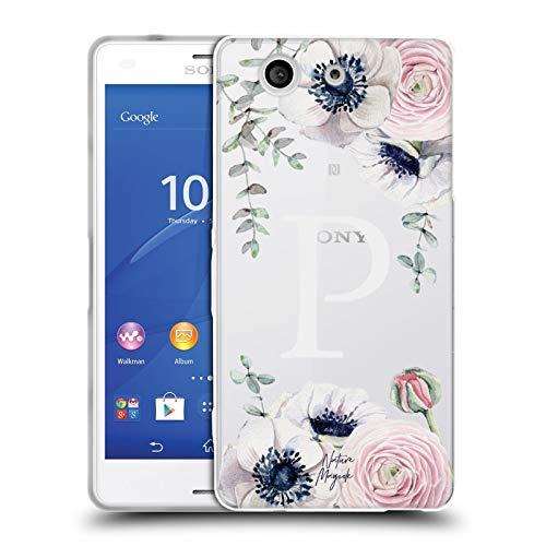 Head Case Designs Offizielle Nature Magick Buchstabe P Wasserfarben Blumen Monogramm 2 Soft Gel Huelle kompatibel mit Sony Xperia Z3 Compact / D5803