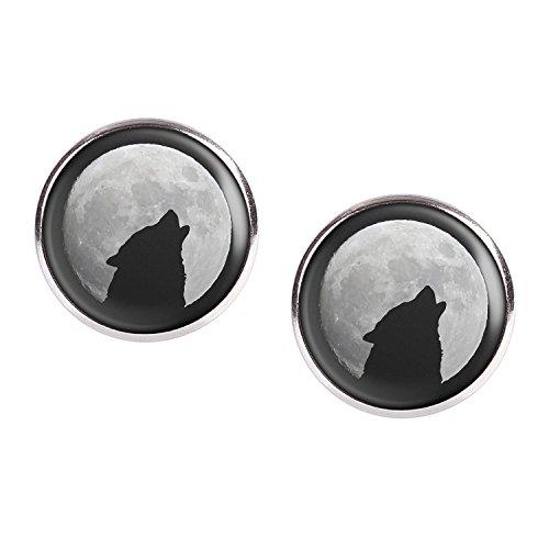 ar mit Motiv Wolf Heult Mond Silhouette Sterne silber 16mm (Halloween Silhouetten Geist)