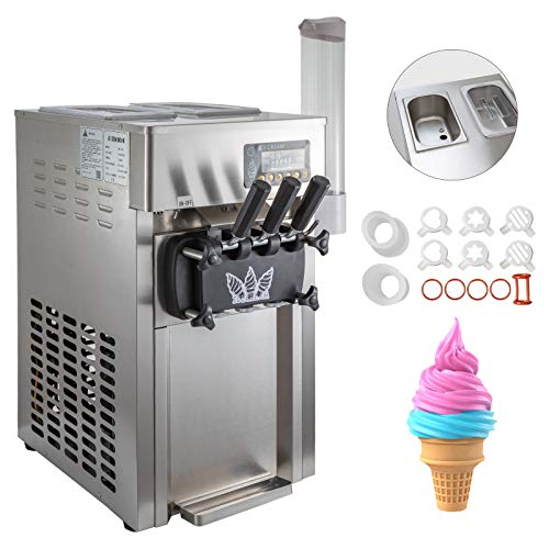 BuoQua Speiseeisbereiter Desktop Kommerzielle Softeismaschine 50Hz Eismaschine Ice Cream maker 220V Edelstahl Maschine