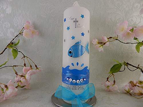 Taufkerze Fisch blau mit Sternen Taufkerzen Junge 250/70 mm inkl. Beschriftung - 2