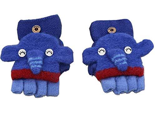 Pormow Pormow Herbst und Winter 1-3 Jahre alt Cartoon Warm Handschuhe Kind Half Finger Gestrickt Handschuhe (Kleiner Elefant-Blau)