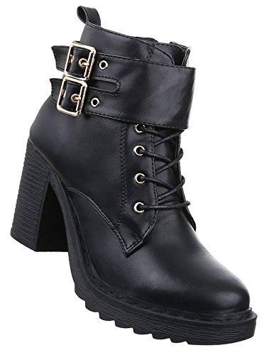 Damen Boots Schuhe Schnür Stiefeletten Schwarz 36 37 38 39 40 41 Schwarz