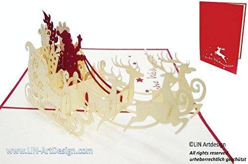 Lin - cartolina pop-up 3d per gli auguri di natale con disegno di babbo natale su slitta con le renne [in tedesco]