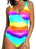 FITTOO Damen Gepolsterter Einteiliger Figurformender Rückenfreier Sport Badeanzug Regenbogen Muster L