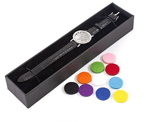 Momente Aromatherapie (Mystic Moments Armband Lebensbaum Aromatherapie Öl Diffusor Armband mit verstellbarem schwarzem Lederband)