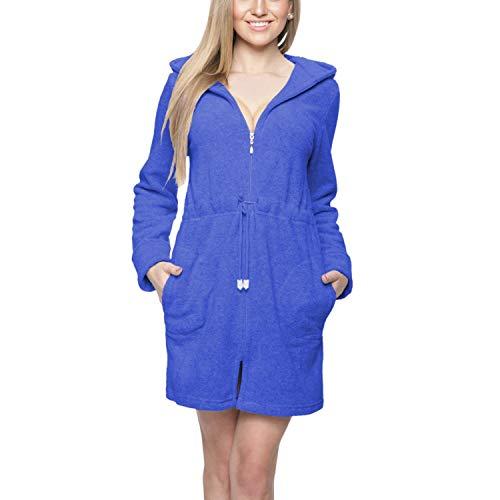 Aquarti Damen Morgenmantel mit Kapuze und Reißverschluss, Farbe: Blau, Größe: S