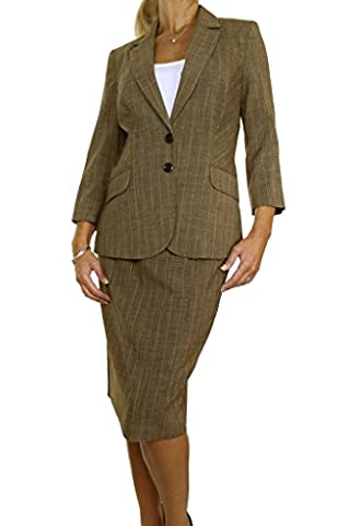 ICE (6420) Smart Business Office Skirt Suit Feint Stripe Brown Mustard (12)
