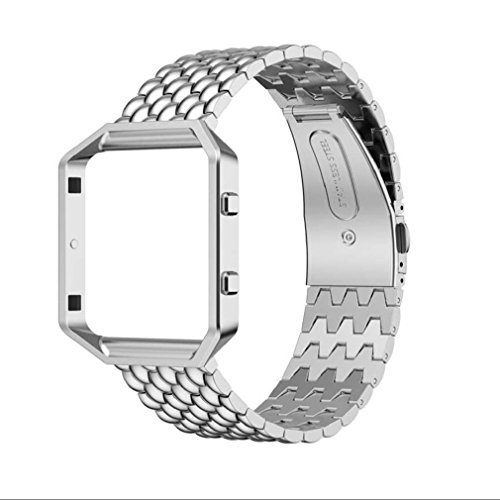 Preisvergleich Produktbild Tonsee Edelstahlarmband Smart Band Uhrenarmband + Fall Abdeckung für Fitbit Blaze (Silber)