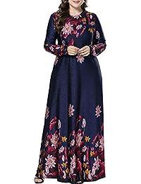 Qianliniuinc Donne Oversized Elegante Abaya Vestito - Signora Manica Lunga  Maglia Floreale Musulmano Maxi Vestito Casuale f462d1e9667