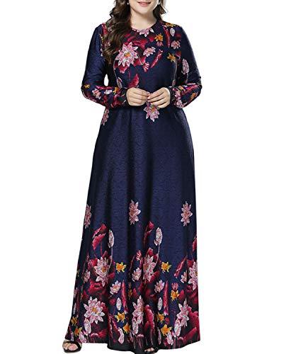 Qianliniuinc Muslim Maxikleid Dubai Abaya Robe-Frauen Übergröße Lange Ärmel Stricken Blumen Damen Elegant Cocktail Abschlussball Kleid M (Stricken Der Frauen Robe)