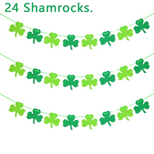 Gigalumi 24 Stück Filzgirlande Kleeblatt Girlande Banner St. Patrick 's Day Dekorationen Party Supplies Ornament-Irish Party Supplies