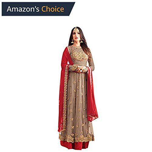 FFASHION Women's Dress Material(FK-25002 BROWNM_multicoloured_Free Size)