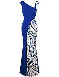 Angel-fashions Womens Body Con Evening Dresses Irregular Split