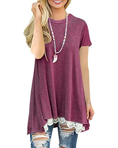 Damen Shirt Bluse Lose A-Line Tunika Tops für Damen Kurzarm T-Shirt mit Spitze(Rot XL) -