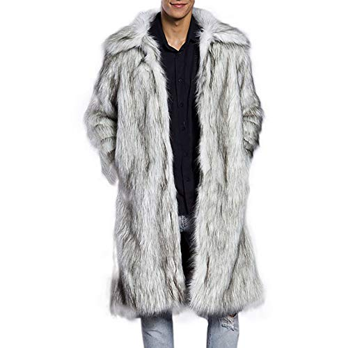 Camicia a righe colorate uomo beikoard -20% moda uomo caldo cappotto cappotto pesante soprabito in pelliccia sintetica parka cardigan outwear(beige,l)