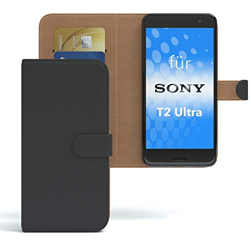 EAZY CASE Sony Xperia T2-Ultra Hülle Bookstyle mit Standfunktion, Book-Style Case aufklappbar, Schutzhülle, Flipcase, Flipstyle, Flipcover mit 2 Kartenfächern aus Kunstleder, Schwarz