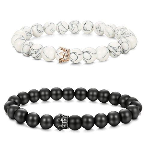 (BE STEEL Armbänder Steine Perlen für Herren Damen Paar Lava Vulkanischen Stein Armband König und Königin, 8 MM white)