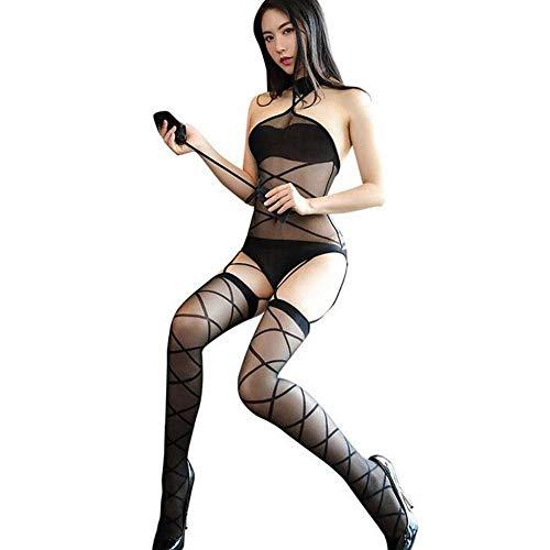 QWE Sexy Unterwäsche weibliche Perspektive Brust -Hing, Bare Back Crossing Line Sexy Socken Sexy Seide Socken -