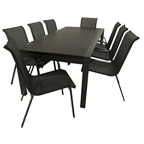 Conjunto muebles de exterior | Mesa jardín grande, extensible de 231/346 cm y 8 sillones apilables con respaldo de 96 cm | Aluminio color antracita | 8 plazas | Portes gratis