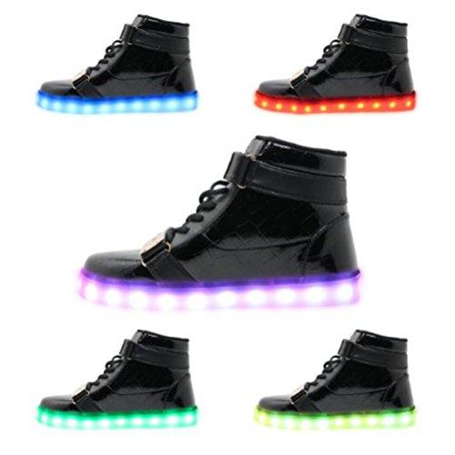 [Presente:piccolo asciugamano]JUNGLEST® , 7 colori alla moda, unisex, da uomo, donna, carica USB luce luminosi LED lampeggianti Scarpe da camminat nero - nero