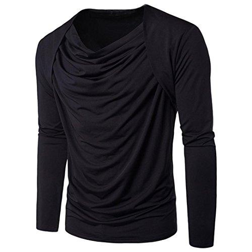 Herren Langarmshirt T-Shirt, KIMODO Art- und Weisepers5onlichkeit-Mann-Baumwollbeiläufige dünne lang-sleeved Hemd-Oberseiten-Bluse Schwarz