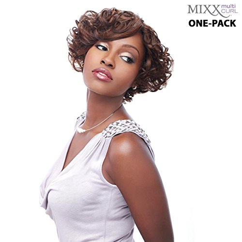 [3 mèches Pack complet + Closure] sensationnel HH Fancy de Multi Curl (Mixx) – Human Hair Blend Weave (One Pack Complete)