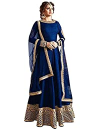 Globalia Creation Women's Special Party Wear Blue Color Cotton Silk Embroidery Anarkali Semi Stitched Salwar Suit...