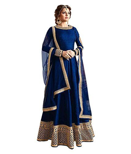 Palli Fashion Womens Blue Colour Tafeta silk Dress Material (A_madhubala_blue)