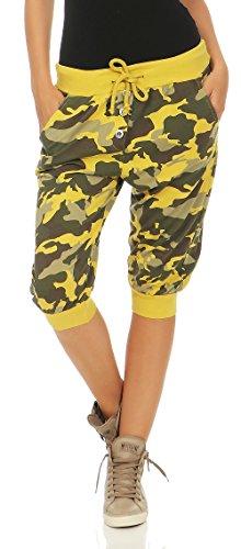 Malito Damen Kurze Hose im Camouflage Look   Chino Hose mit Knopfleiste   Baggy zum Tanzen   Sweatpants 8017 (gelb) (Gelbe Sweatpants Frauen)