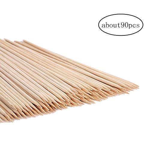 90pcs Pinchos de bambú Natural Sticks para Barbacoa Brochetas de malvavisco Asar Sticks Extra Gruesos Largos Palos de bambú para Trabajo Pesado de asado de malvavisco