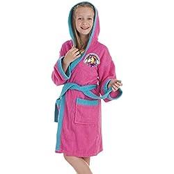 Secaneta - Albornoz Infantil para niña. Bata de baño Chica con Dibujos Bordados. Unicornio (10 a 12 años / 10 to 12 Years Old)
