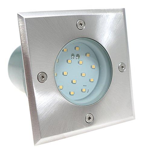230V LED Terrassenspot Bodeneinbaustrahler Wegbeleuchtung nur 1,2 Watt Verbrauch Bodenstrahler Edelstahl Gartenbeleuchtung eckig quadratisch warmweiss Gordo IP67 begehbar für Innen - Aussen geeignet