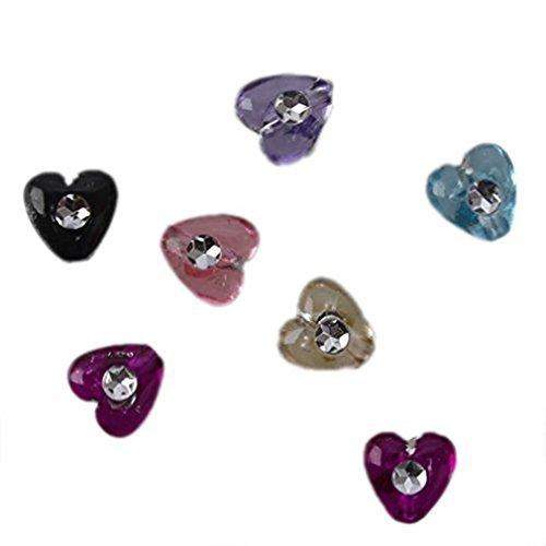 500Pcs Colore Misto Cuore Forma Diamanti Piccolo Perline Plastica Bottoni Gioielli Per Braccialetto